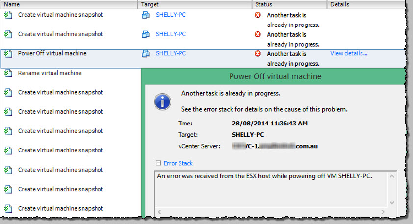 "vSphere – ""Another task is already in progress  "" fix with"
